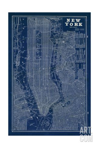 Blueprint Map New York Giclee Print by Sue Schlabach at Art.com