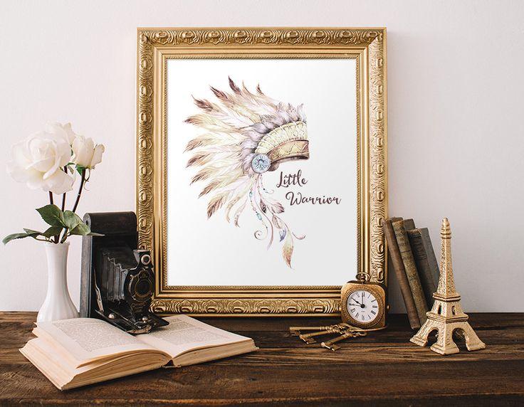 Tribal Native American Headdress Printable Art Print Little Warrior Nursery Tribal Decor Southwestern Decor Boy's 5x7 8x10 Instant Download by MossAndTwigPrints on Etsy