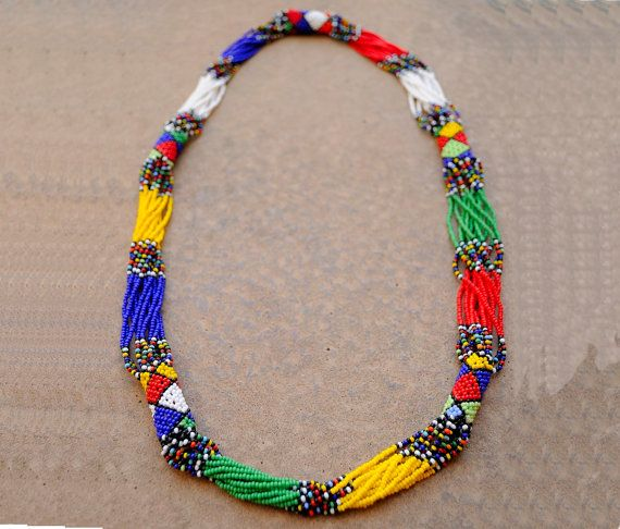 African multistrand necklaceBeaded African by akwaabaAfrica