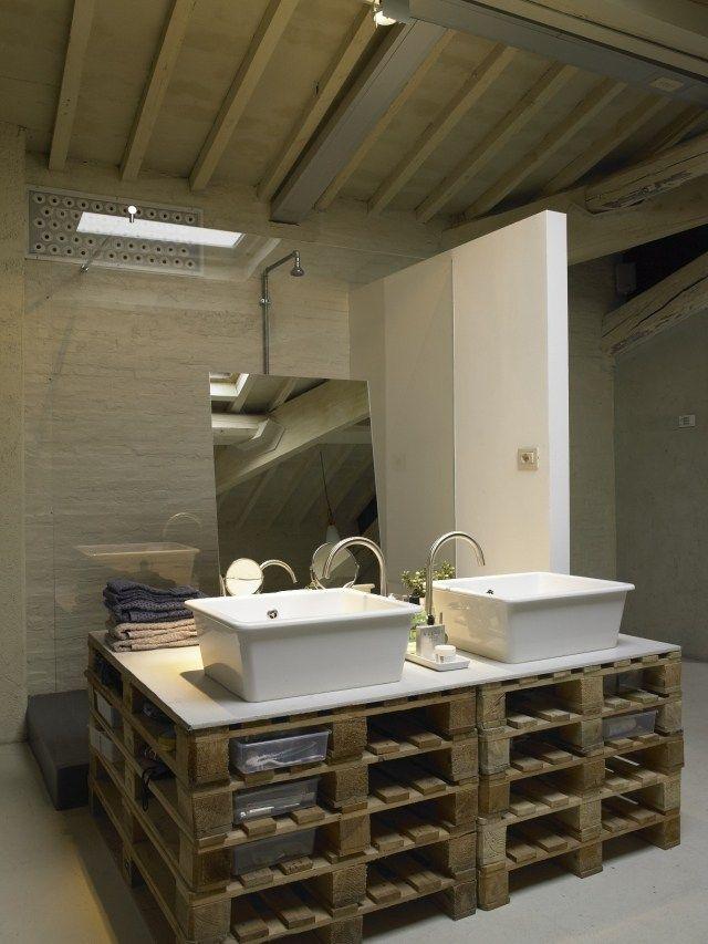 waschtisch holzpaletten selber bauen aufsatzwaschbecken - Bad Unterschrank Selber Bauen