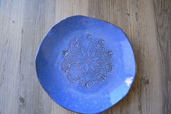 Amazing Blue Ceramic Plate - handmade tableware - wedding gift - housewarming Unique Organic shaped dish