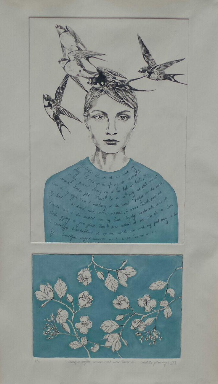 Swaeltjies vergeet immers nooit waar Somer is. Drypoint etch with handcolouring. www.nicolettegeldenhuysart.co.za