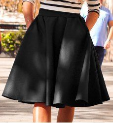 Elegant Solid Color Flare Skirt For Women (BLACK,XL)   Sammydress.com Mobile