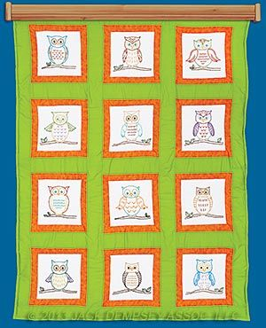 Embroidery Quilt Blocks Patterns, Owls   Jack Dempsey Needle Art #embroidery  #embroiderybyhand #