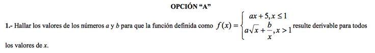 Ejercicio 1A 2000-2001 Junio. Propuesto en examen pau de Canarias. Matemática. Continuidad, derivabilidad y representación de funciones. Límites.
