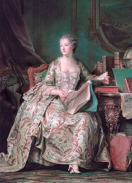 Madame Pompadour, mistress de officialle of King Louis XV of France in a lovely dress typical of the 1700s. Her shoes are called mules.