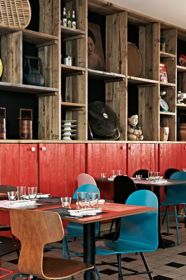 Restaurant NamNam Copenhagen by HolmbäckNordentoft | Yellowtrace. Use of painted rough sawn timber.