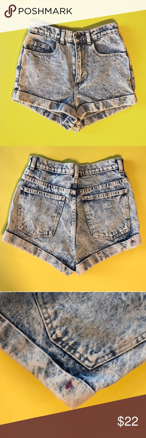 AMERICAN APPAREL HIGH WAISTED ACID WASH SHORTS American Apparel high waisted acid washed shorts 😍 size 25. Has some very small ink marks on the back as seen in the second and third picture American Apparel Shorts Jean Shorts