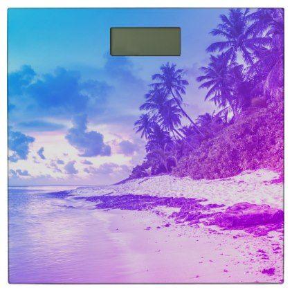 #Purple and blue Tropical beach design Bathroom Scale - #Bathroom #Accessories #home #living