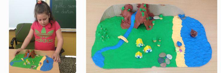 Maqueta que incluye las diferentes expresiones geográficas: montaña, llanura, río, lago y mar. Bloque 2 Exploración de la Naturaleza y la Sociedad, Segundo grado.