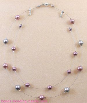 Create a floating pearl necklace, this beautiful illusion pearl necklace comes with easy instructions for this popular jewelry making design.