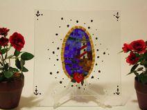 Faro Old school / Vassoio di vetro con mosaico