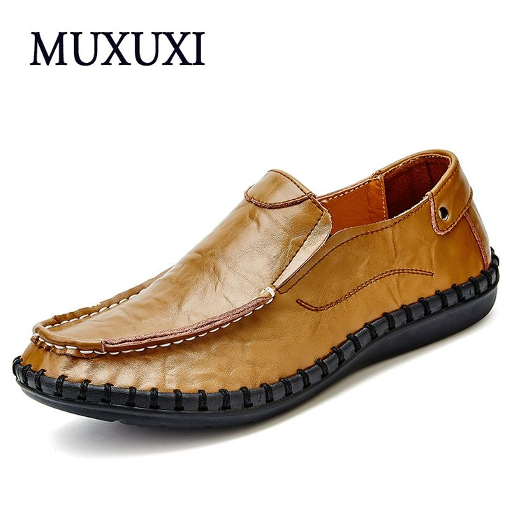 2017 Fashion Style Men Loafers High Quality Genuine Leather casual Shoes outdoor Flats shoes  men Driving Shoes plus size 38-47