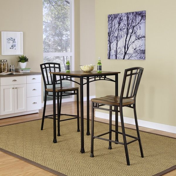 Reminiscent of the American Craftsman Era with understated style and simplicity, the Modern Craftsman 3-piece Bistro Set marries a traditional, distressed Oak finish on oak veneers with new age, deep