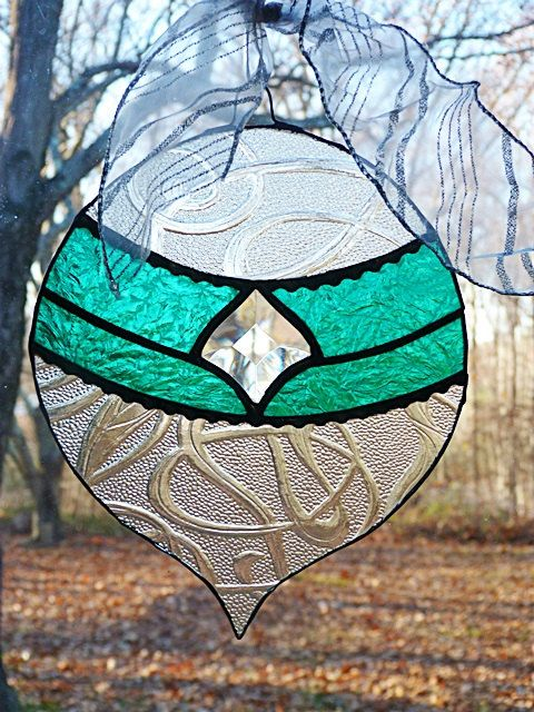 Large Stained Glass Teal Christmas Ornament by miloglass on Etsy, $24.00