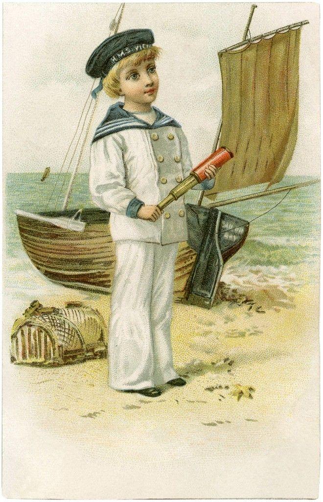 Cutest Vintage Sailor Boy Image! - The Graphics Fairy