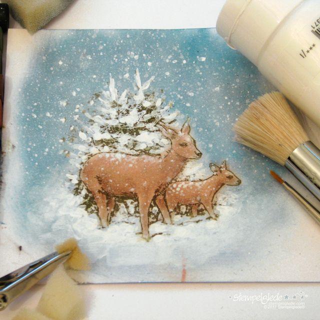 Deer in winter forest - Coloring guide - Gunhild J. Gjessing Bay - Stempelglede :: Design Team Blog