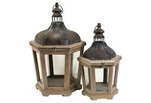 Set of 2 Pomeroy Lanterns  $99: Lanterns Sets, Woods And Metals, Candles Holders, Pomeroy Woods, Pillar Candles, Age Metals, Pomeroy Lanterns, Candles Lanterns, Metals Lanterns