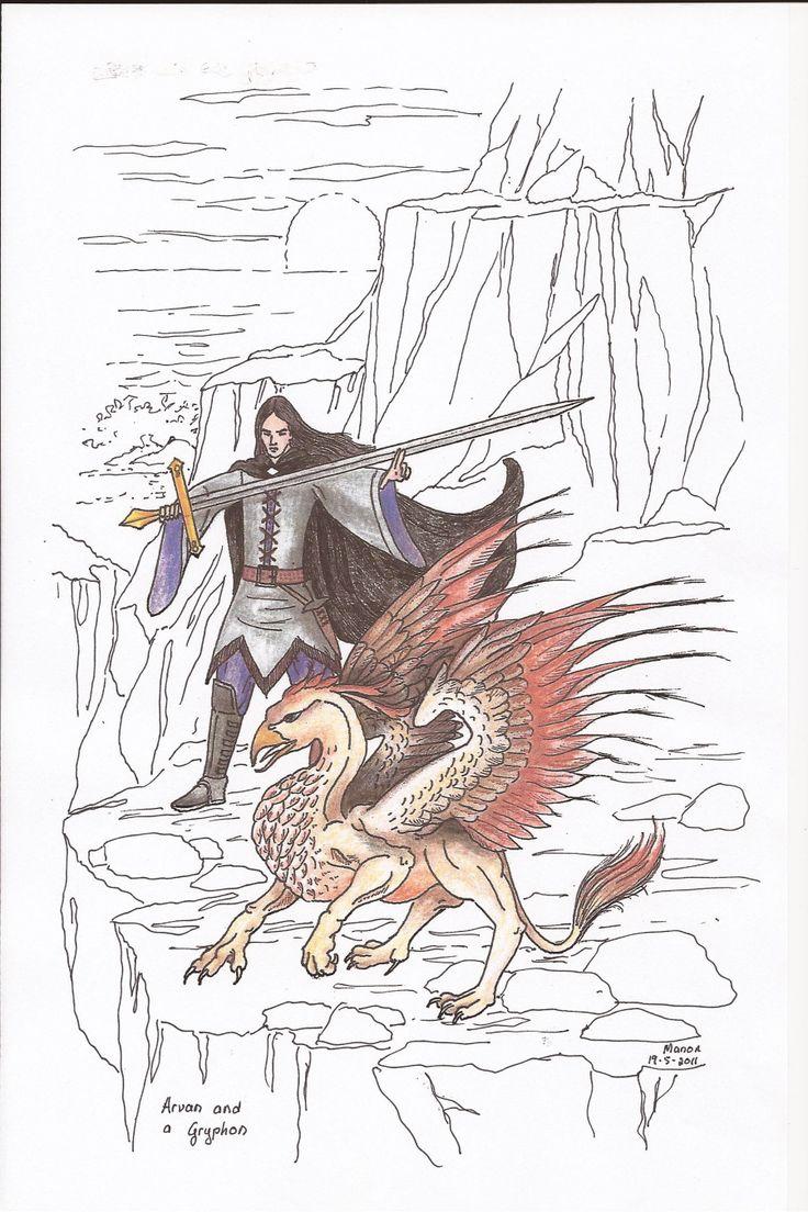 Arvan and the Gryphon, from the book SIRION by Ivano Massari. http://www.gypsyshadow.com/IvanoMassari.html#top