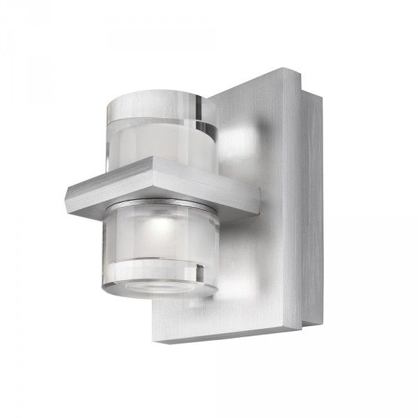 Philips InStyle Darius LED Metal & Glass Wall Light - Aluminium from Litecraft