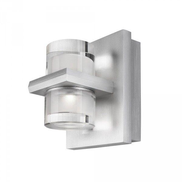 Philips InStyle Darius LED Metal & Glass Wall Light - Aluminium from Litecraft