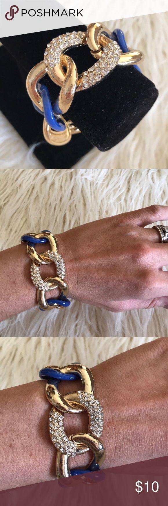 Blue Rhinestone Chain Link Bracelet Blue rhinestone chain link bracelet Jewelry Bracelets