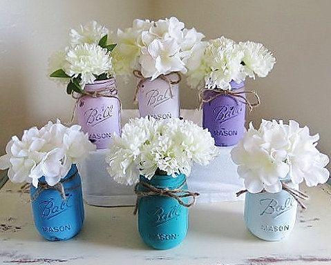 Teal and Purple Princess Mason Jars Mason Jars by MyHeartByHand