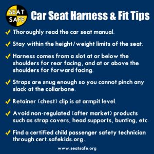 Car Seat Safety harness and fit tips