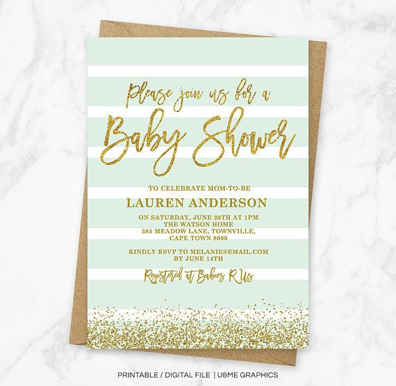 Mint And Gold Baby Shower Invitation Mint Baby Shower