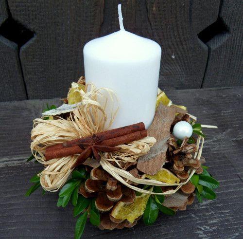 Adventní svícen bílý přírodní