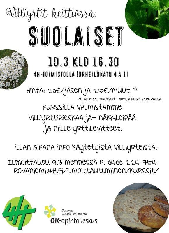 Villiyrtit keittiössä: suolaiset kurssi 10.3 - Rovaniemen4 H-yhdistys