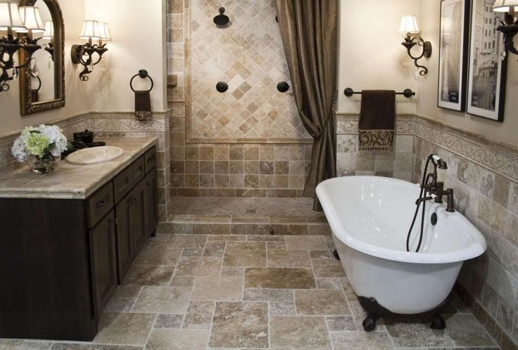 Classic country bathroom #KBhome . I pinned this because of the unique tile layout.