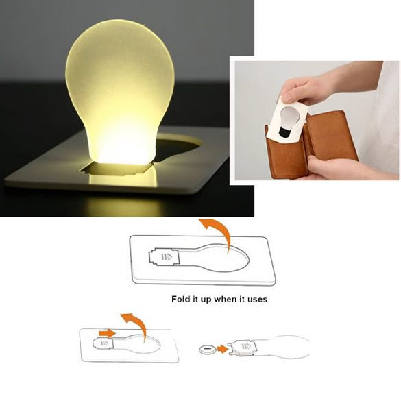 Hot Portable LED Card Pocket Light bulb Lamp Wallet Fit for Wallet Purse Card Holder Free Shipping