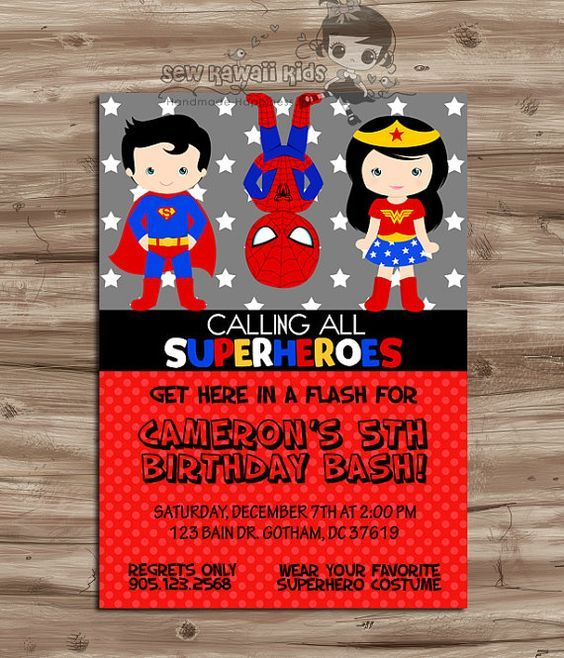 SUPERHEROES Birthday Invitation, SUPERHEROS Invite, Superhero Party, Wonder Woman, Captian Amercia, Flash,  Digital Printable 5 x 7 JPG File...