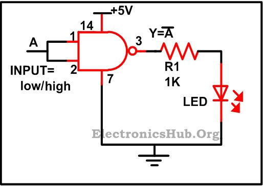 NOT Gate using NAND Gate For more details about this circuit, visit http://www.electronicshub.org/design-of-basic-logic-gates-using-nand-gate/