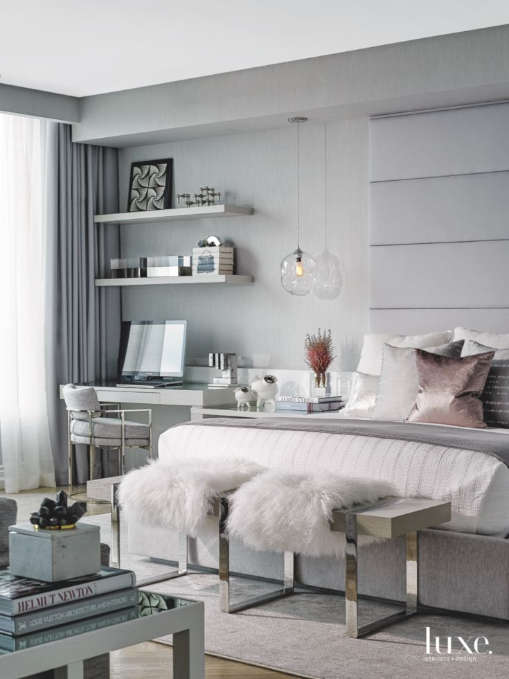 Grey Living Room Interior Design: Gray Master Bedroom With Rose Gold Accent Pillow And Plush