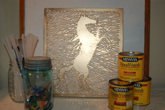 "Golden Horse String Art - 11-1/4"" x 10"" plaque - Free Shipping"