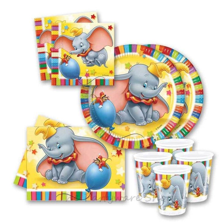 Disney Colourful Dumbo Themed Birthday Party Tableware Packs for 10 and 20 #BirthdayChild