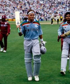 Martin Crowe walks off the field after batting against the West Indies in the 1992 Cricket World Cup.