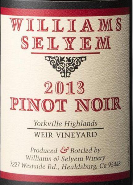 2013 Williams Selyem Pinot Noir Weir Vineyard