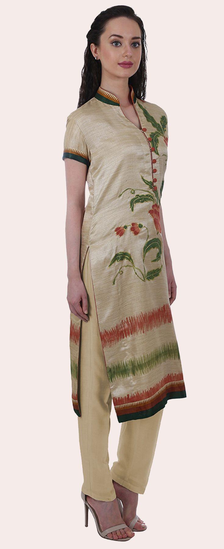 Eid 2017 Collection: Fawn Floral Hand Painted Matka Silk Tunic Kurta