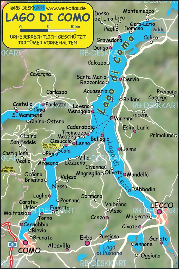 Map Of Lake Como italy lake como | Map of Lake Como (Italy)   Map in the Atlas of