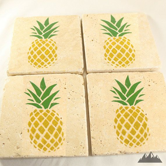 PINEAPPLE COASTERS | Stone Coasters | Pineapples Decor | Pineapple Decor | Tropical Decor | Beach Decor | College Decor | Pineapple Gift