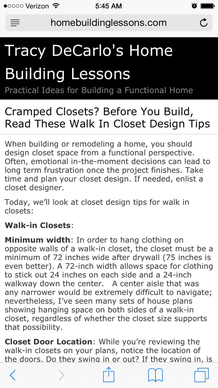 Great Article On Walk In Closet Space Requirements And Dimensions