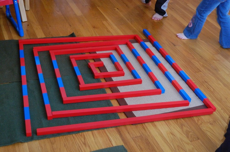 Montessori Sensorial maze extension with the red rods and the number rods.