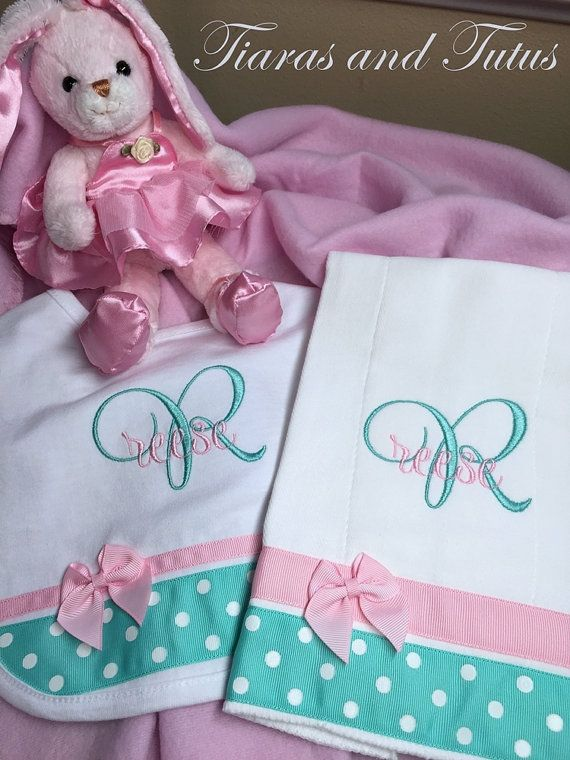 Love, love, love these colors! Personalized Burp Cloth and Bib Set by elainestiarasntutus $23.00