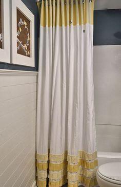 como hacer cortinas de baño de tela
