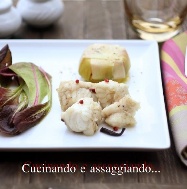 Cucinando e assaggiando...: Coda di rospo alla vaniglia e bauletto di porro e verdurine al vapore
