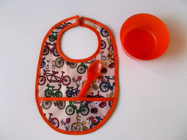 babete bicicletas laranja bib with bicycles waterproof fabric