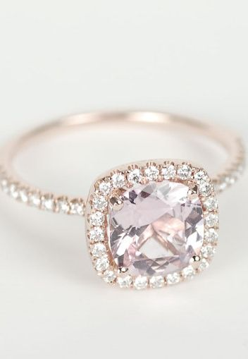 Peach Pink Cushion Sapphire Diamond Halo Engagement Ring.